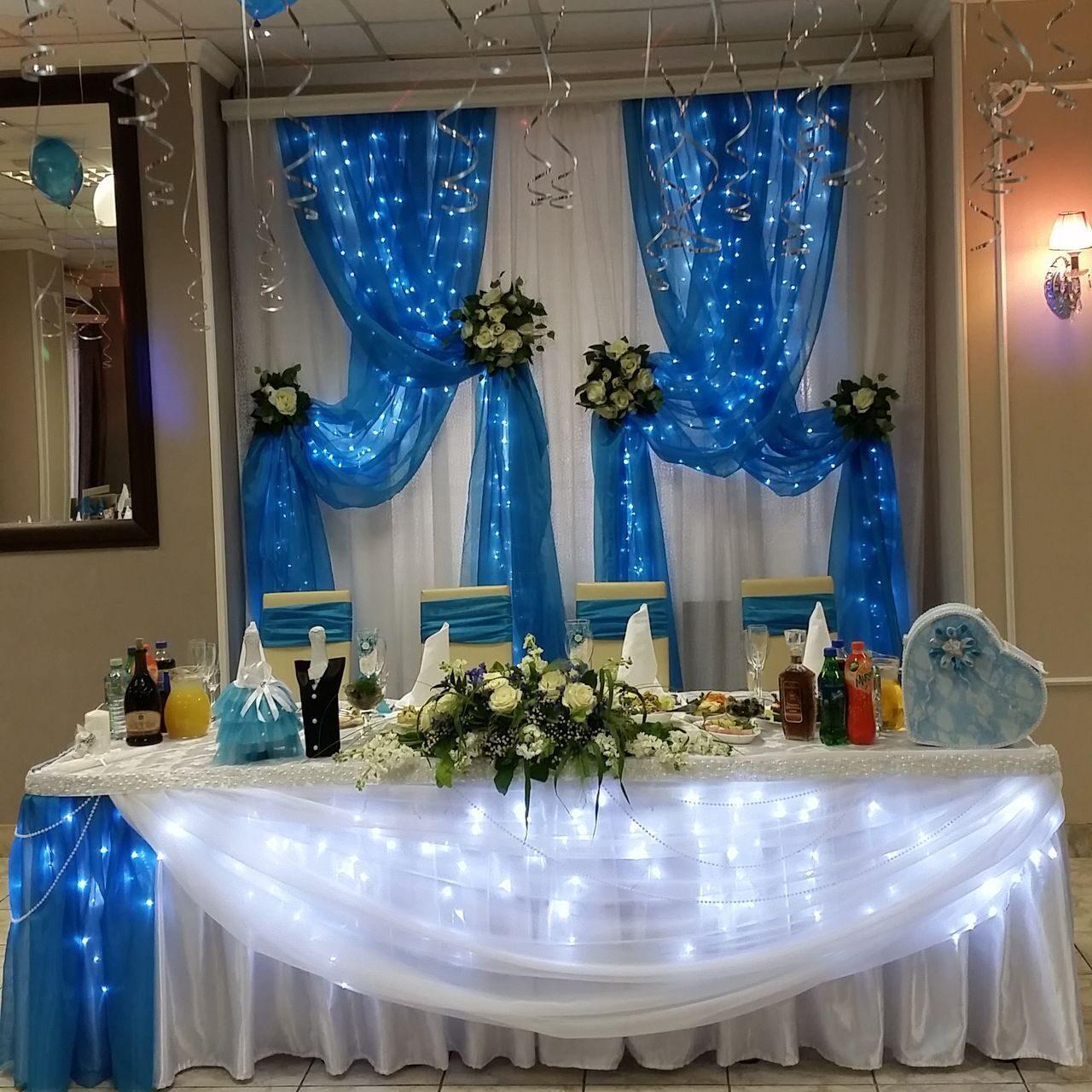 Украшение зала в бирюзовом цвете на свадьбу фото